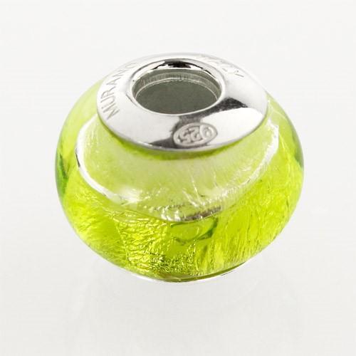 Perla di Murano stile Pandora Bicolore Ø13. Vetro verde chiaro, foglia argento. Borchia argento 925. Foro passante.