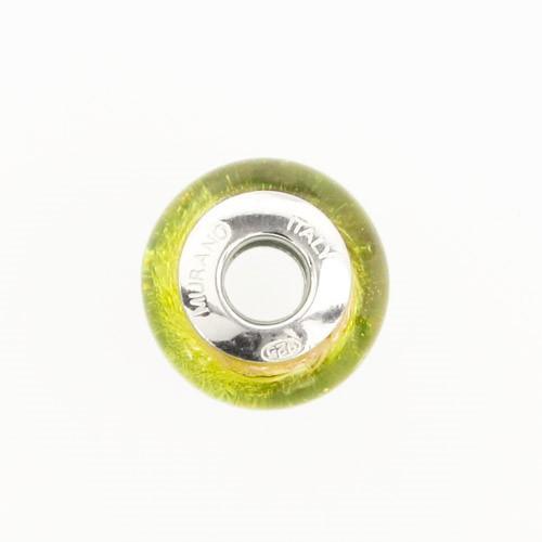 Perla di Murano stile Pandora Sommersa Ø13. Vetro verde chiaro, ametista, foglia argento. Borchia argento 925. Foro passante.