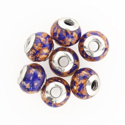 Perla di Murano stile Pandora Sommersa Ø13. Vetro blu e avventurina. Borchia argento 925. Foro passante.