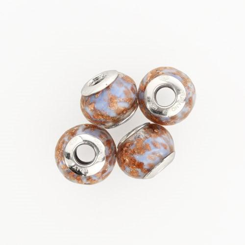 Perla di Murano stile Pandora Sommersa Ø13. Vetro bluino e avventurina. Borchia argento 925. Foro passante.