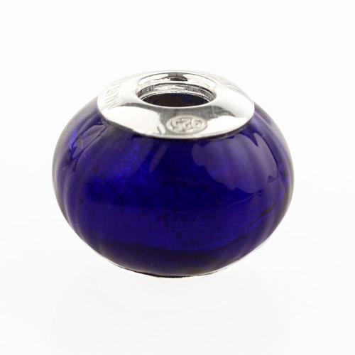 Perla di Murano stile Pandora Sommersa Ø13. Vetro blu. Borchia argento 925. Foro passante.