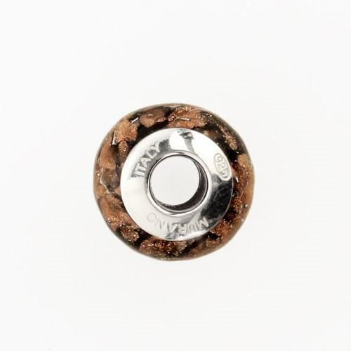 Perla di Murano stile Pandora Sommersa Ø13. Vetro nero e avventurina. Borchia argento 925. Foro passante.