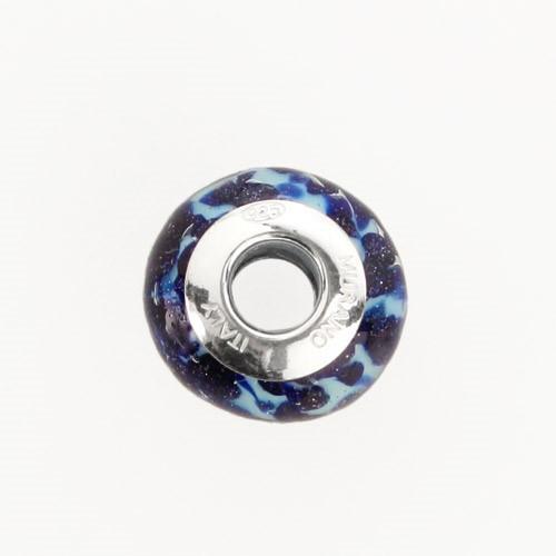Perla di Murano stile Pandora Sommersa Ø13. Vetro acquamare chiaro e avventurina blu. Borchia argento 925. Foro passante.