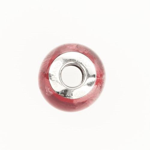 Perla di Murano stile Pandora Sommersa Ø13. Vetro rosa, foglia argento. Borchia argento 925. Foro passante.