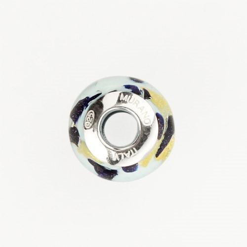 Perla di Murano stile Pandora Sommersa Ø13. Vetro bianco seta, acquamare chiaro, avventurina blu, foglia oro. Borchia argento 925. Foro passante.