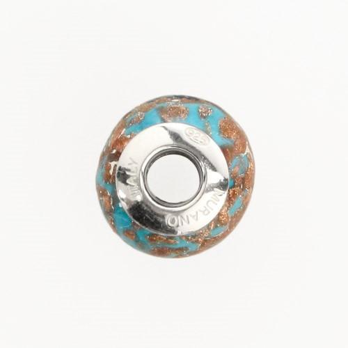 Perla di Murano stile Pandora Sommersa Ø13. Vetro bianco seta, turchese e avventurina. Borchia argento 925. Foro passante.