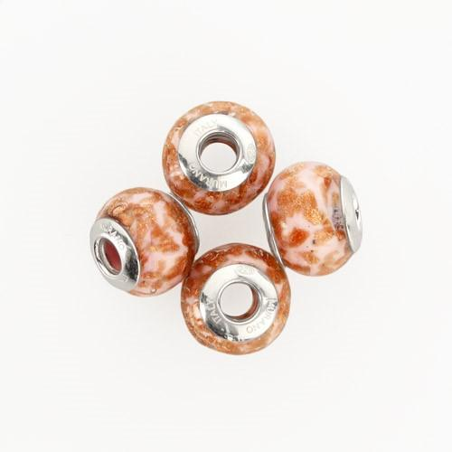 Perla di Murano stile Pandora Sommersa Ø13. Vetro bianco seta, rubino e avventurina. Borchia argento 925. Foro passante.