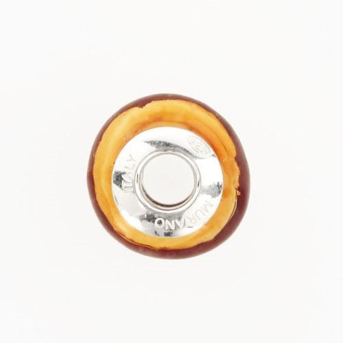 Perla di Murano stile Pandora Sommersa Ø13. Vetro ambra, avorio, topazio. Borchia argento 925. Foro passante.