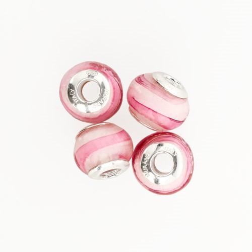 Perla di Murano stile Pandora Sommersa Ø13. Vetro bianco, rubino. Borchia argento 925. Foro passante.