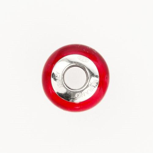 Perla di Murano stile Pandora Sommersa Ø13. Vetro rosso, foglia oro. Borchia argento 925. Foro passante.