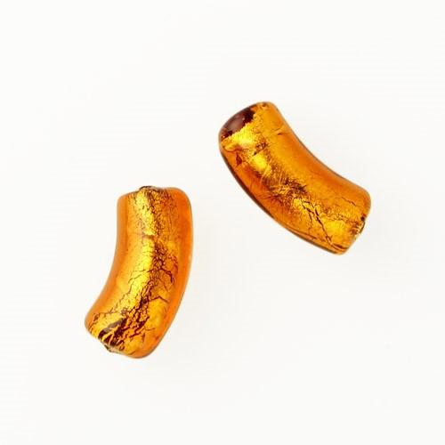 Perla di Murano tubo curvo Sommerso Ø8x18. Vetro topazio foglia oro. Foro passante.
