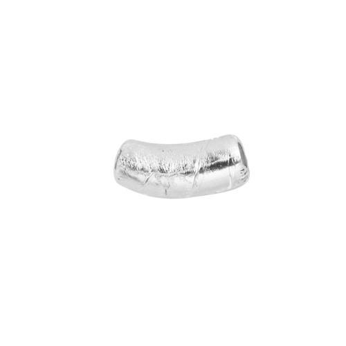Perla di Murano tubo curvo Sommerso Ø8x18. Vetro trasparente foglia argento. Foro passante.