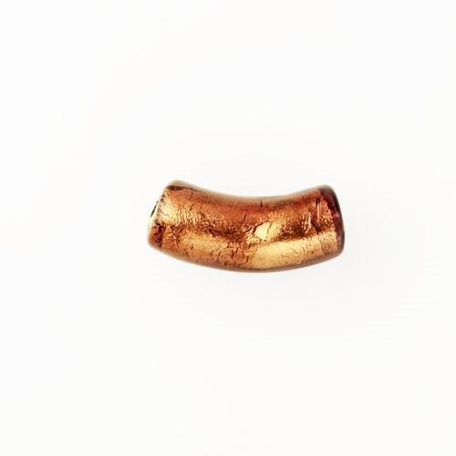 Perla di Murano tubo curvo Sommerso Ø8x18. Vetro ametista, foglia oro. Foro passante.