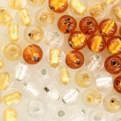 Perla di Murano tonda Sommersa Ø11. Vetro topazio, foglia oro. Foro passante.