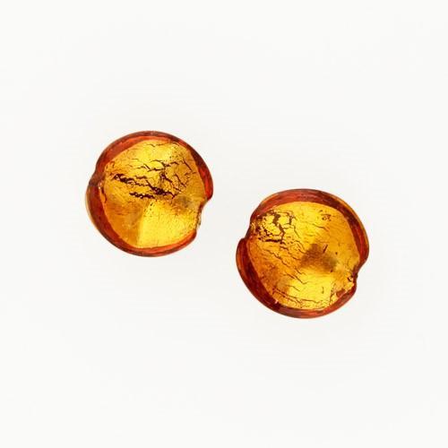 Perla di Murano schissa Sommersa Ø14. Vetro topazio e foglia oro. Foro passante.