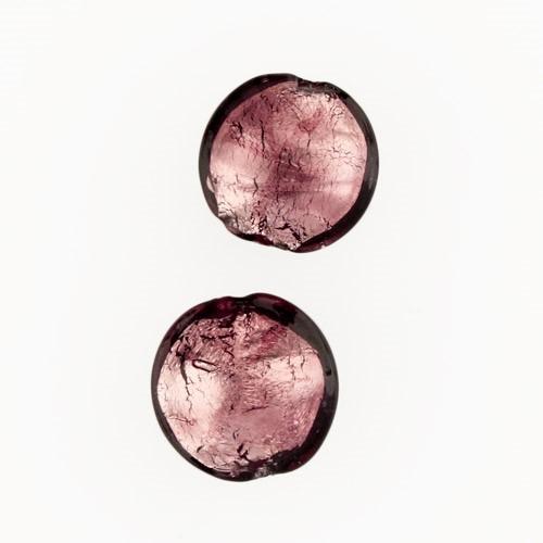 Perla di Murano schissa Sommersa Ø14. Vetro ametista e foglia argento. Foro passante.