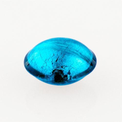 Perla di Murano schissa Sommersa Ø14. Vetro colore acquamare scuro e foglia argento. Foro passante.