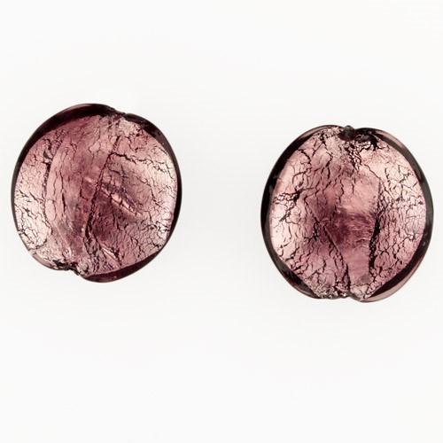 Perla di Murano schissa Sommersa Ø22. Vetro ametista, foglia argento. Foro passante.