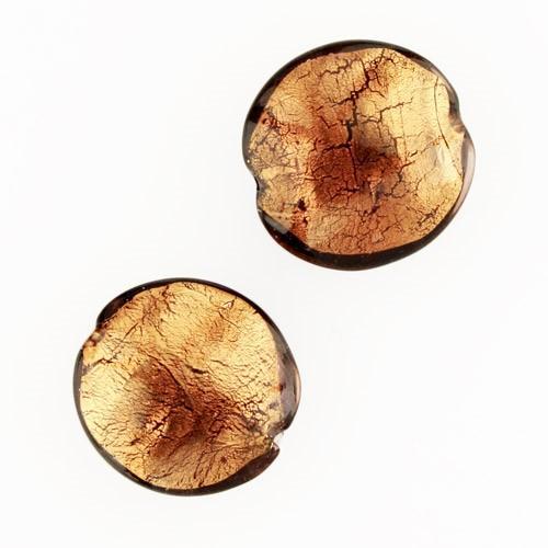 Perla di Murano schissa Sommersa Ø22. Vetro ametista, foglia oro. Foro passante.