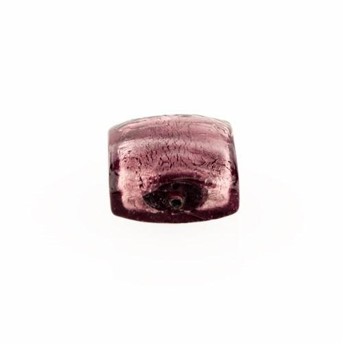 Perla di Murano schissa quadrata Ø14. Vetro sommerso ametista, foglia argento. Foro passante.