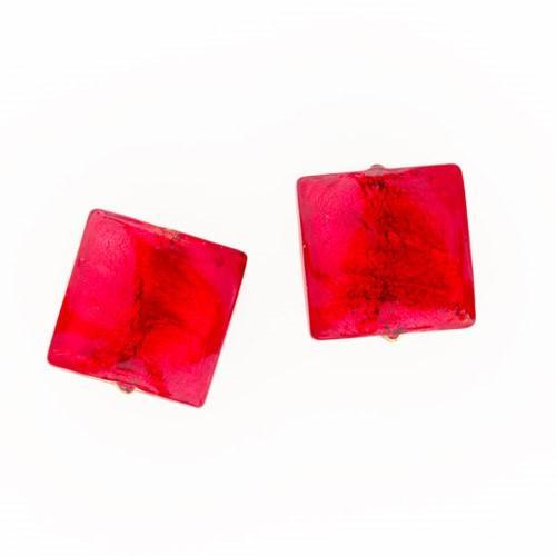 Perla di Murano schissa quadrata Ø14. Vetro sommerso rosso, foglia oro. Foro passante.