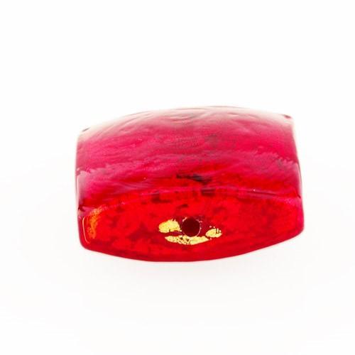 Perla di Murano schissa quadrata Ø18. Vetro sommerso rosso, foglia oro. Foro passante.