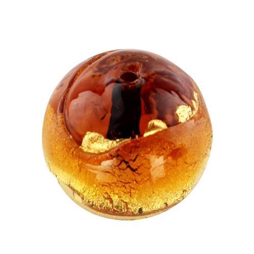 Perla di Murano tonda Sommersa Ø16. Vetro ambra, topazio, foglia oro. Foro passante.