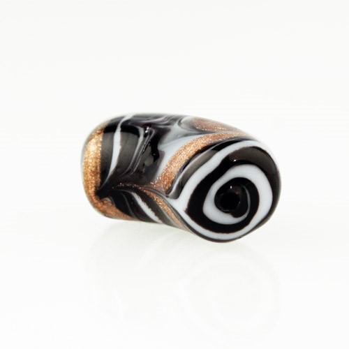 Perla di Murano tubo curvo Fenicio Ø9x23. Vetro bianco, nero e avventurina. Foro passante.