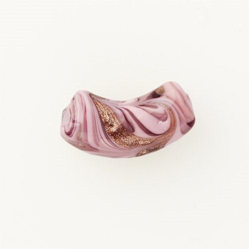 Perla di Murano tubo curvo Fenicio Ø9x23. Vetro bianco, rosa e avventurina. Foro passante.