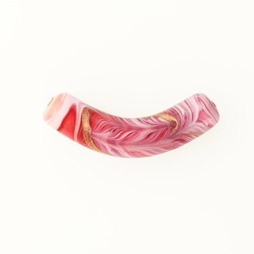 Perla di Murano tubo curvo Fenicio Ø10x48. Vetro bianco, rubino, rosa e avventurina. Foro passante.