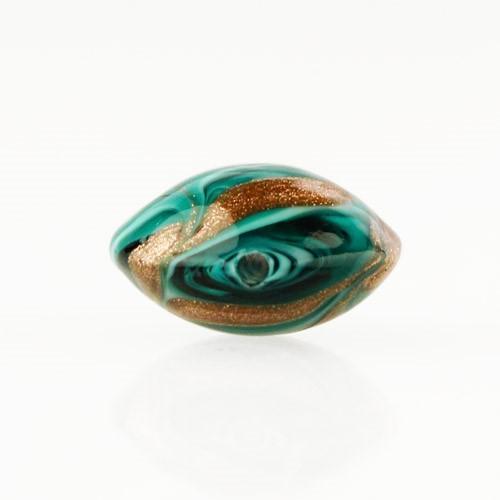 Perla di Murano schissa Fenicio Ø14. Vetro verde chiaro, verde acqua, verde scuro e avventurina. Foro passante.