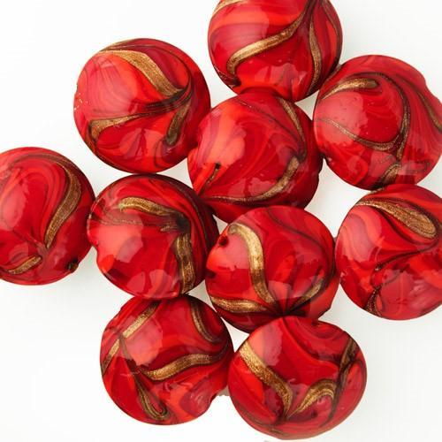 Perla di Murano schissa Fenicio Ø30. Vetro rosso e avventurina. Foro passante.