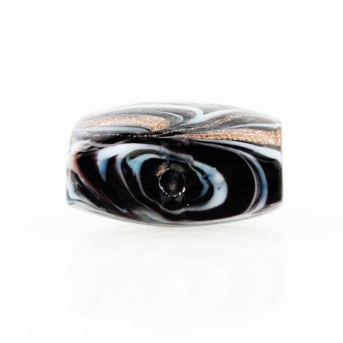 Perla di Murano schissa Fenicio Ø14. Vetro nero e avventurina. Foro passante.