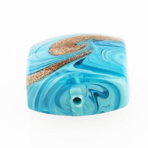 Perla di Murano schissa Fenicio Ø18. Vetro turchese e avventurina. Foro passante.
