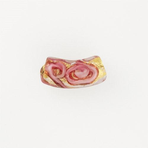 Perla di Murano tubo curvo Medusa Ø9x22. Vetro rubino, foglia oro e avventurina. Foro passante.