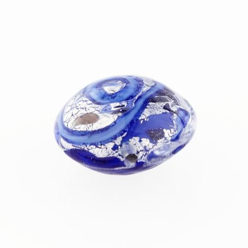 Perla di Murano schissa Medusa Ø14. Vetro blu, foglia argento e avventurina. Foro passante.