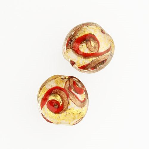 Perla di Murano schissa Medusa Ø14. Vetro bianco rosso, foglia oro e avventurina. Foro passante.