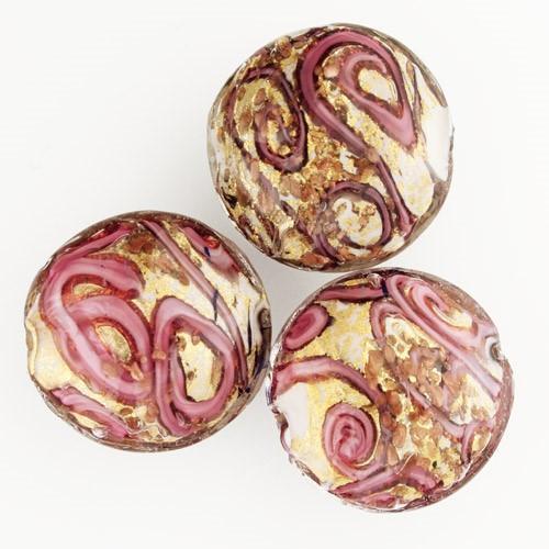 Perla di Murano schissa Medusa Ø30. Vetro rubino, foglia oro e avventurina. Foro passante.