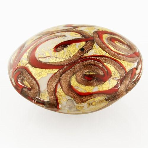 Perla di Murano schissa Medusa Ø30. Vetro bianco, rosso, foglia oro e avventurina. Foro passante.