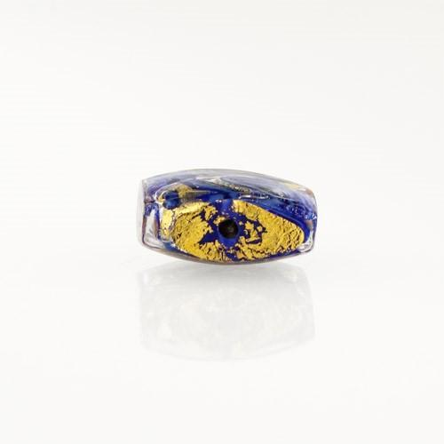 Perla di Murano quadrata Medusa Ø14. Vetro blu, foglia oro e avventurina. Foro passante.