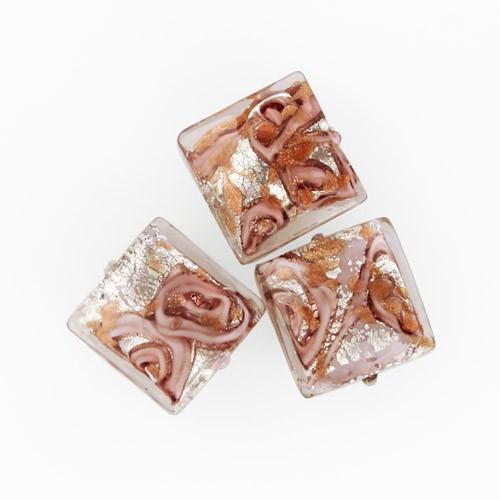 Perla di Murano quadrata Medusa Ø14. Vetro rosa, foglia argento e avventurina. Foro passante.