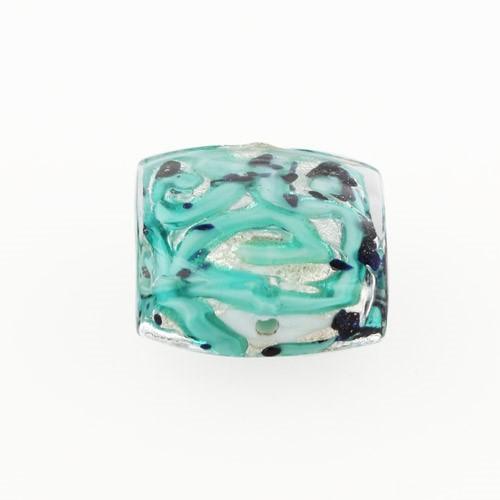 Perla di Murano quadrata Medusa Ø18. Vetro verde marino, foglia argento e avventurina blu. Foro passante.