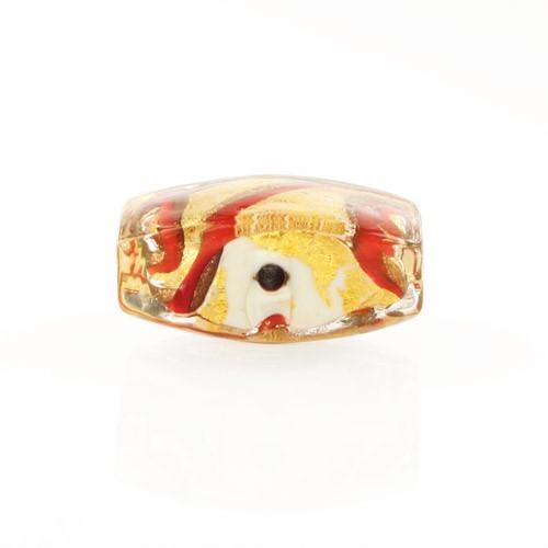 Perla di Murano quadrata Medusa Ø18. Vetro bianco, rosso, foglia oro e avventurina. Foro passante.
