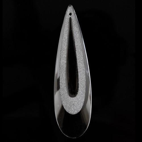 Pendente goccia lacrima 100 mm vetro veneziano colore cristallo con finiture cristallo satinato.