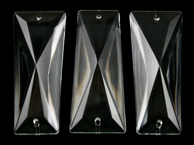 Losanga piastra 58 mm trapezio 2 fori in vetro veneziano cristallino