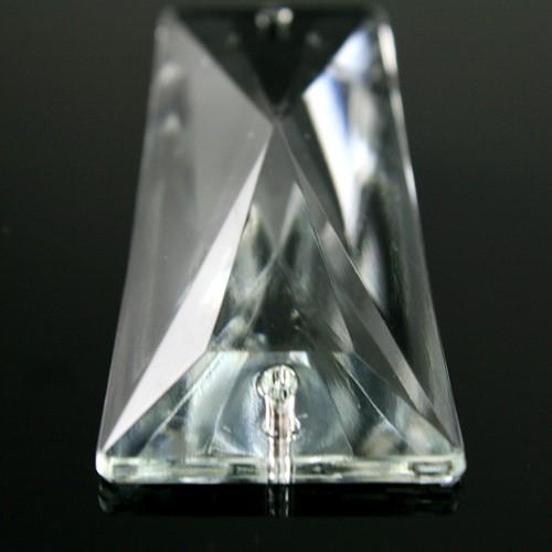 Losanga piastra 63 mm trapezio 2 fori in vetro veneziano cristallino