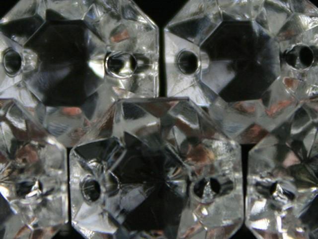 Ottagono 14 mm vetro veneziano colore puro trasparente, 2 fori