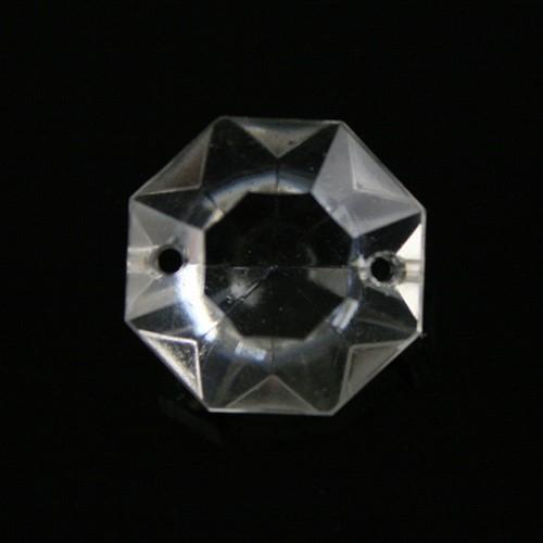 Ottagono 18 mm vetro veneziano colore puro trasparente, 2 fori