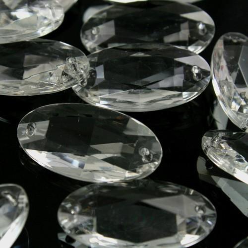 Ovalino sfaccettato 34 mm vetro cristallino sfaccettato
