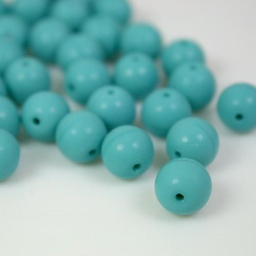 Perla tonda in pasta di vetro turchese, 10 mm